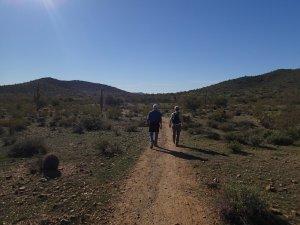 Two hikers enjoying the Apache wash loop hike (Phoenix sonoran preserve)